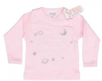 T shirt geborduurde tekst love you to the moon and back